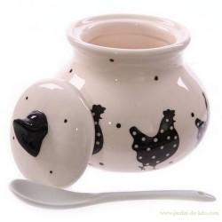 """Pot, cuillère et couvercle """"Poules Noires"""""""