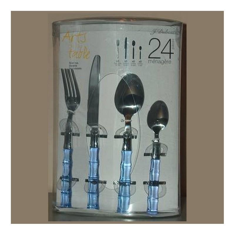 m nag re 24 couverts bambous jean dubost avec fourchettes. Black Bedroom Furniture Sets. Home Design Ideas