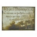"""Plaque """"Avis aux consommateurs"""""""