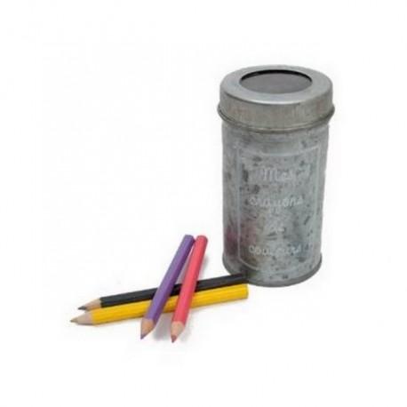 Boite zinc brocante avec crayons de couleurs