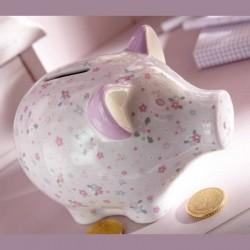 Tirelire cochon avec fleurs en coffret