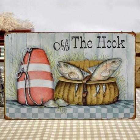 Plaque métal Off The Hook Poissons