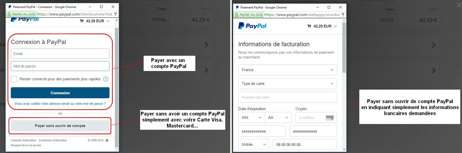 Régler avec ou sans compte PayPal