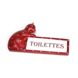 Plaque de porte toilettes Chat