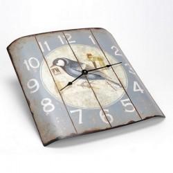 Horloge bombée vieillie petit oiseau