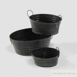 """Lot de 3 jardinières en métal """"Lignes deux tons"""""""