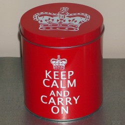 Boite métal rouge Keep Calm And Carry On grand modèle