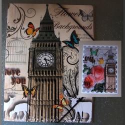 Pochette à rabats Big Ben Fleurs et Papillons