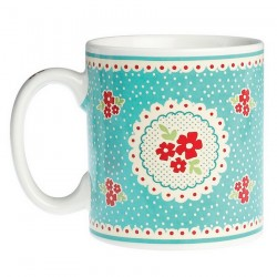 Mug Vintage Blue Doily
