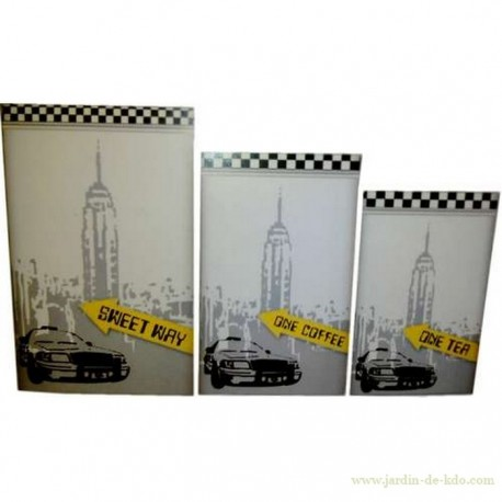 Lot trois boites NYC Empire State and Taxi