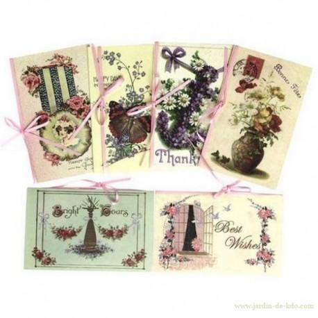 Ensemble de 6 cartes anciennes avec enveloppes