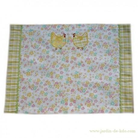 Set de table en tissu poules et fleurs