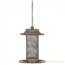 Mangeoire oiseaux gris beige suspension