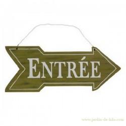 """Flèche """"Entrée"""" en bois"""