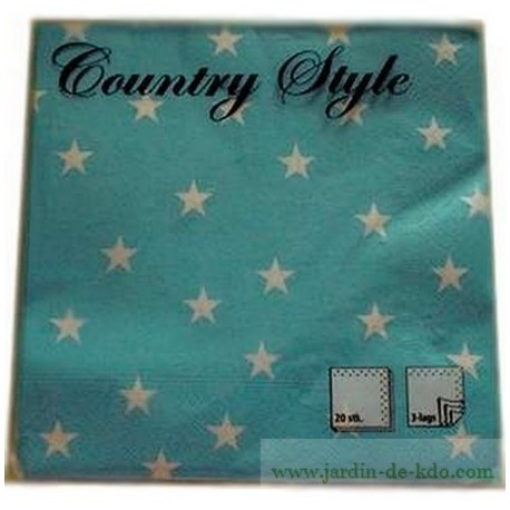 Lot de 20 serviettes en papier Etoiles Blanches Country