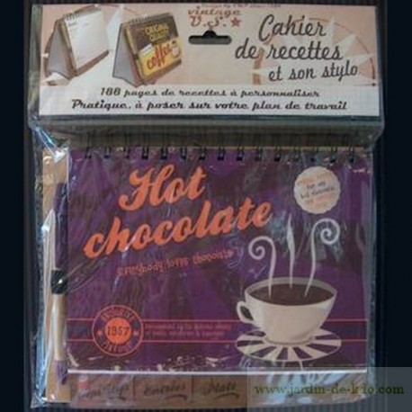 Carnet de recettes rétro hot chocolate et stylo