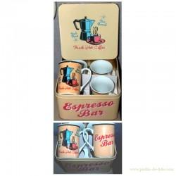 """Boite métal 4 mugs """"Espresso Bar"""""""