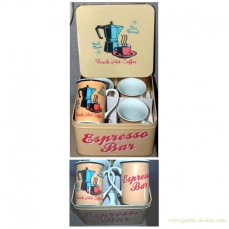 """Boite métal 4 mugs """"Espresso Bar"""" rétro"""