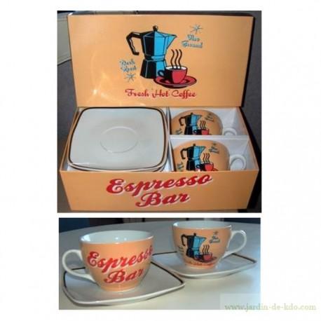 Boite deux bols et soucoupes fresh hot coffee espresso bar