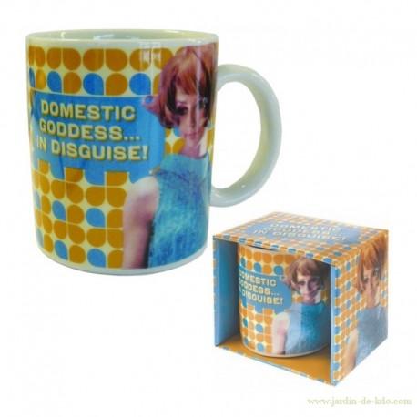 Mug retro humour domestic goddess in disguise