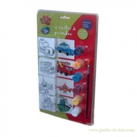 Kit 4 toiles transport à peindre enfant avec peintures et pinceau