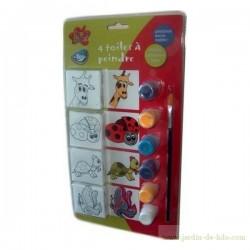 Kit peinture cadres animaux enfants pinceau et peintures