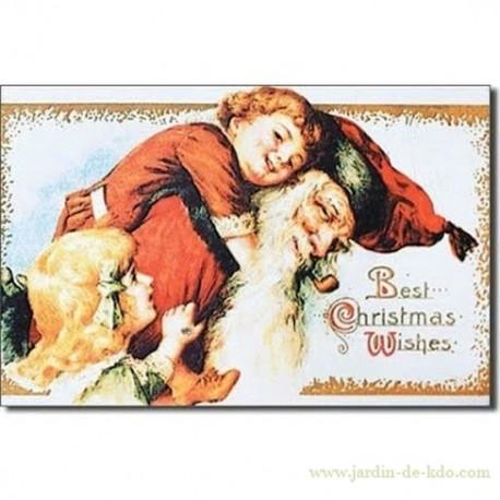 Magnet Best Christmas 2 Filles Père Noël