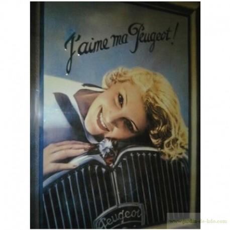 """Plaque métal """"J'aime ma Peugeot"""""""