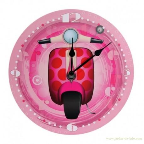 Horloge scooter rose vespa