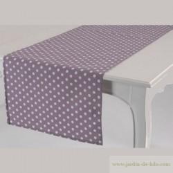 Chemin de table violet mauve pois blancs Amadeus