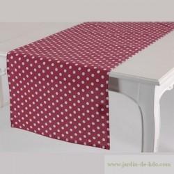 Chemin de table rose pois blancs Amadeus