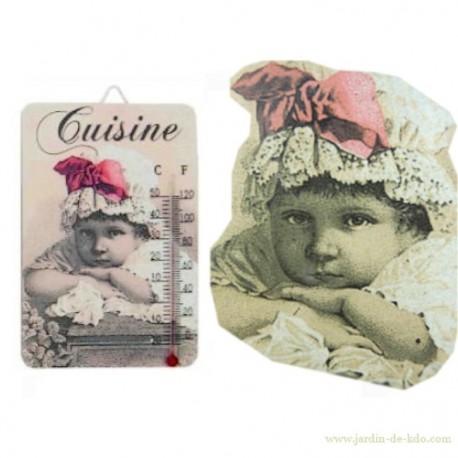 Thermomètre petite fille boudeuse antic line
