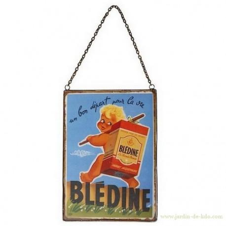 """Plaque sur chaînette """"Blédine"""" bébé"""