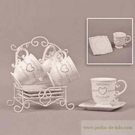 Présentoir et ses quatre tasses et soucoupes Romance