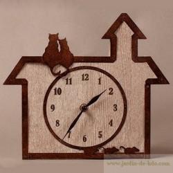 Horloge chats et souris bois et métal marque française