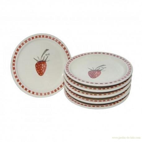 "Ensemble 6 mini-assiettes à dessert ""Strawberry"""