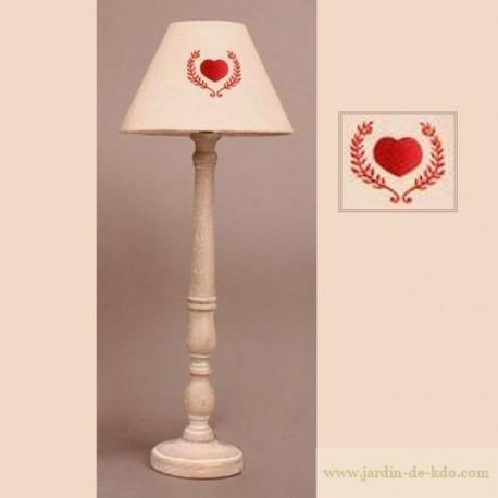 Lampe bois et abat-jour coeur laurier