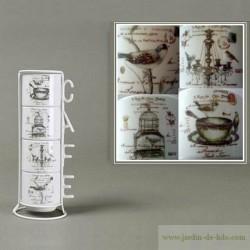 Présentoir quatre tasses Café Rétro jolis motifs