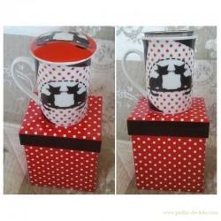 Coffret cadeau mug thé chats et pois couvercle filtre