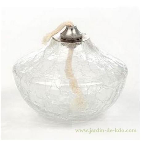 Lampe à huile toupie en verre craquelé transparent