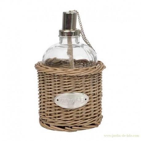 Lampe à huile en osier avec plaque métal vintage