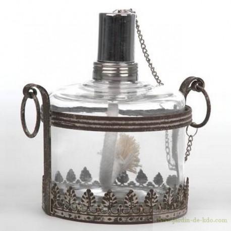 Lampe à huile métal et verre frise feuillage travaillée