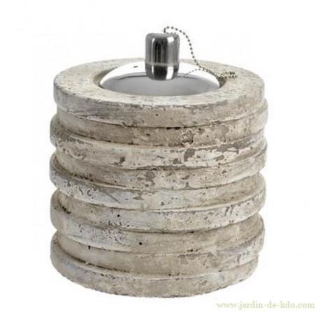 Lampe à huile cylindrique ciment grège