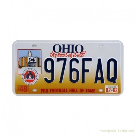 Plaque immatriculation Pro Football Hall Of Fame Ohio Licence Plate