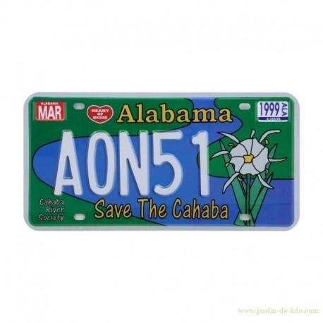 Plaque immat. voiture américaine Alabama Save The Cahaba River
