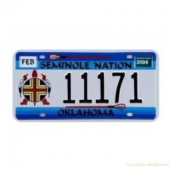 Plaque métal embossé minéralogique USA Indiens Seminole Nation Oklahoma