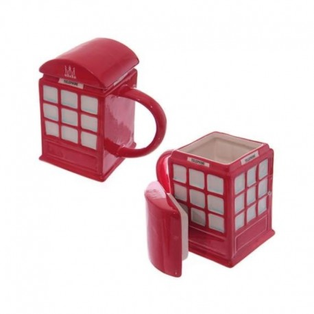Tasse avec couvercle cabine téléphone rouge angleterre