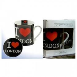 Mug noir et soucoupe I love london