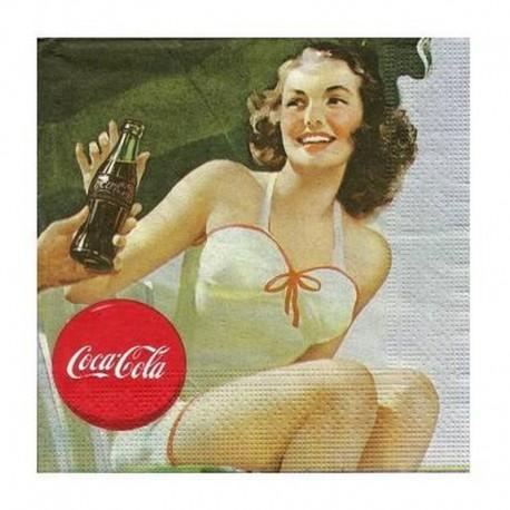 20 Serviettes Coca-Cola Pin-Up Transat