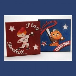 "Lot de 2 tableaux ""Baseball Enfant"""